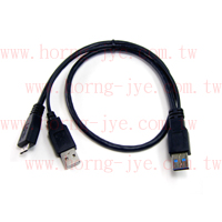 USB3.0 Y CABLE  3.0 A Male/2.0 A Male+Micro